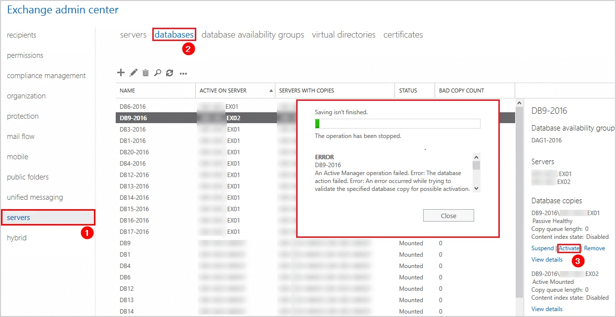 Activate database copy action failed content index disabled error