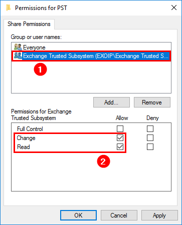 Export Exchange mailbox to PST with PowerShell add PST share permissions ETS