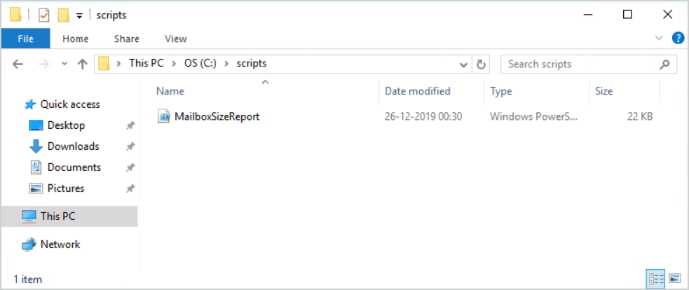 Get mailbox size of all users in Exchange with PowerShell scripts folder