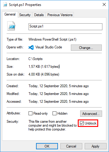 Not digitally signed error when running PowerShell script security unblock