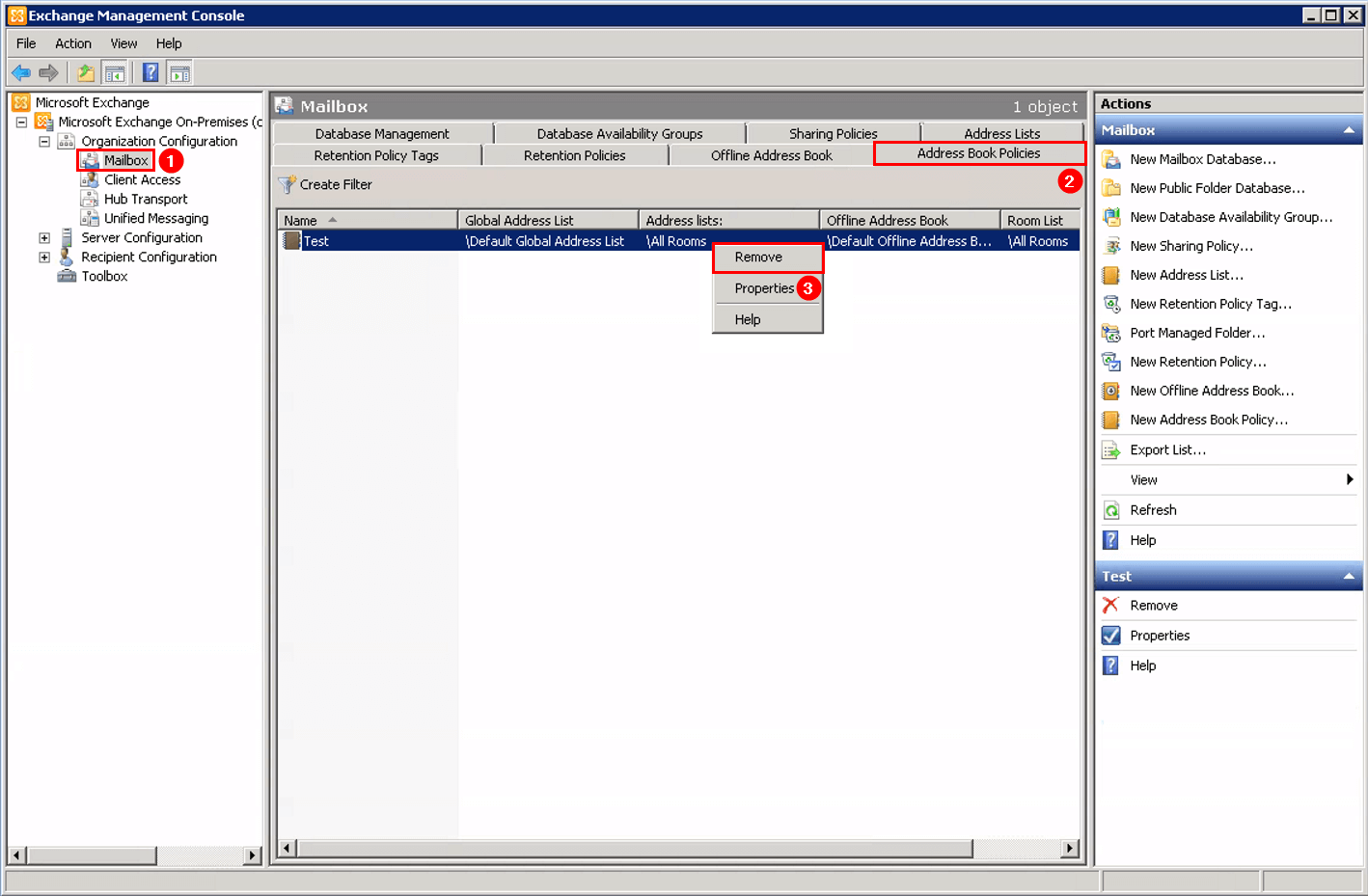 Remove Offline Address Book (OAB) in Exchange remove address book policy