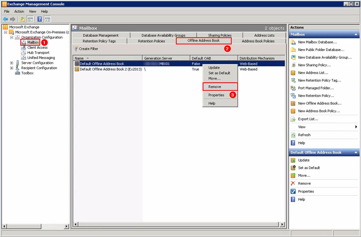 Remove Offline Address Book (OAB) in Exchange remove offline address book