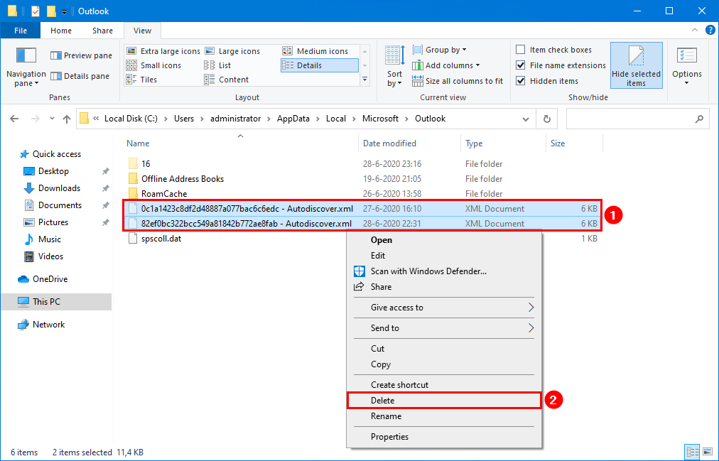 Outlook keeps asking for password after migration remove xml