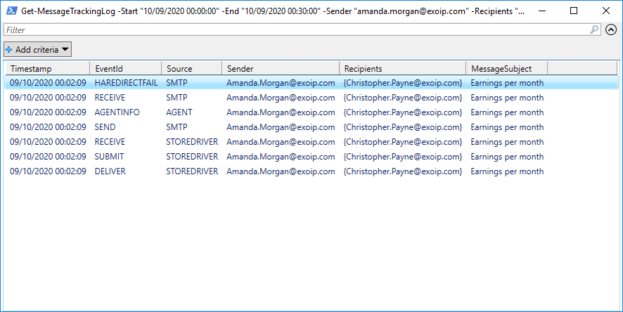 Search and delete email from Exchange user mailbox Out-GridView