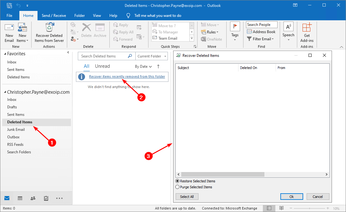 Search and delete email from Exchange user mailbox recover deleted items