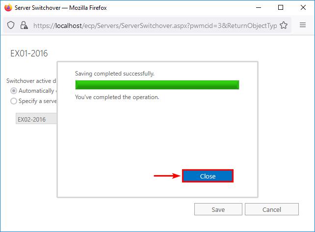 Server switchover Exchange Server completed