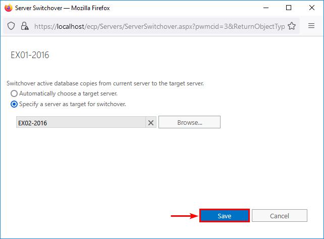 Server switchover Exchange Server save