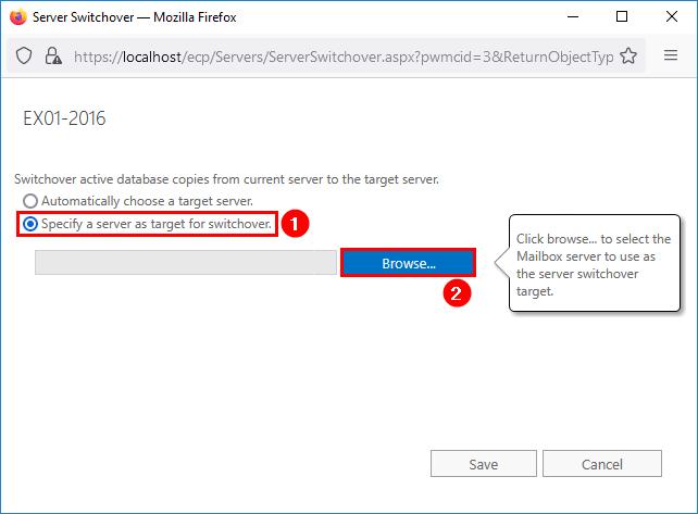 Server switchover Exchange Server specify  server as target
