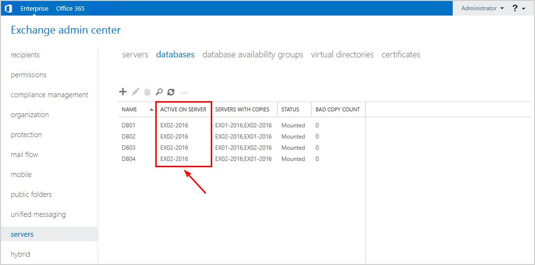 Server switchover Exchange Server verify