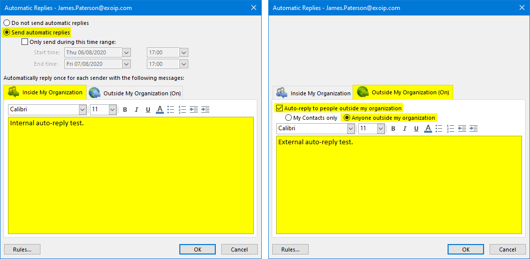 Set automatic replies with PowerShell 2