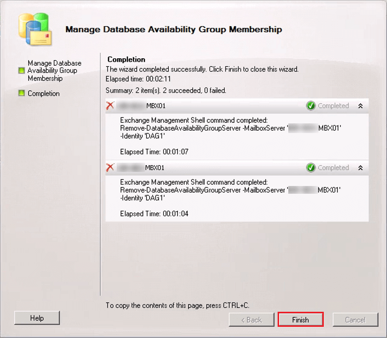 Uninstall Decommission Exchange Server 2010 DAG remove servers finish