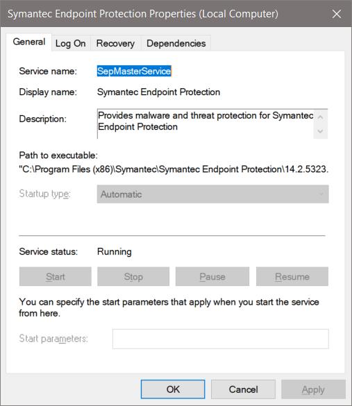 disable symantec endpoint protection service
