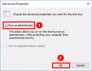 Always run Exchange Management Shell as administrator enable option