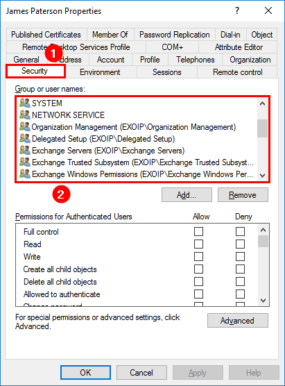 Remove orphaned SID permissions from mailbox ADUC confirm removed orphaned accounts