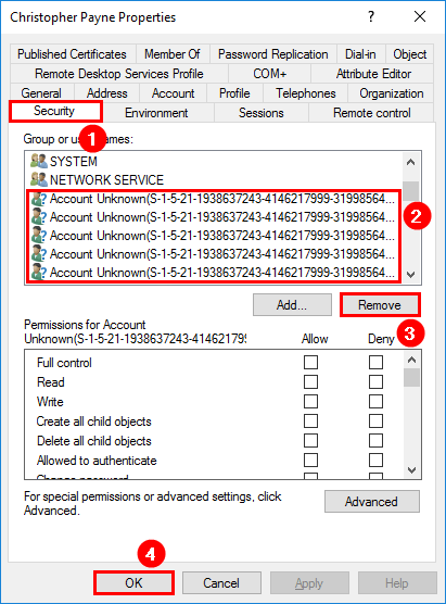 Remove orphaned SID permissions from mailbox ADUC