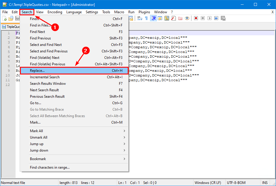 Excel CSV triple quotes when saving file replace