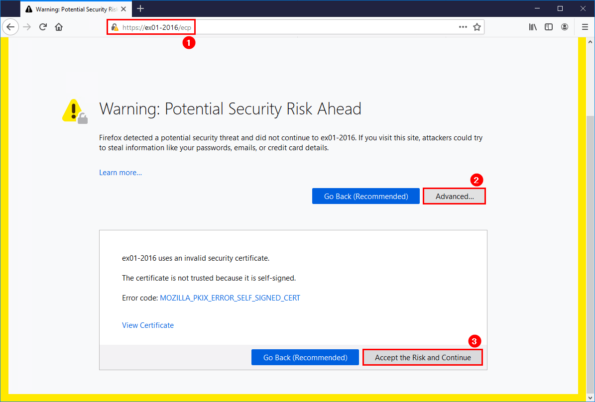 Install Exchange Server 2016 step by step log into EAC certificate warning
