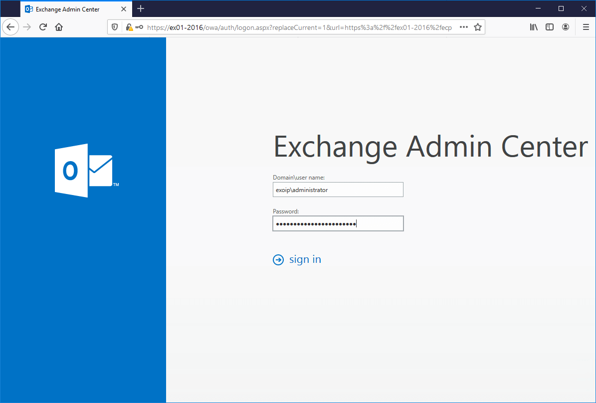 Install Exchange Server 2016 step by step log into EAC