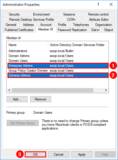 Prepare Active Directory and domains for Exchange Server add members