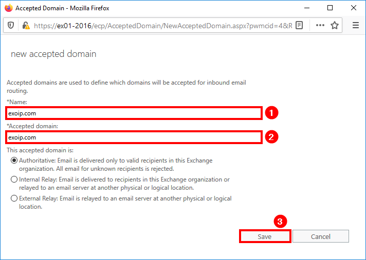 Add accepted domain in Exchange 2016 add fields