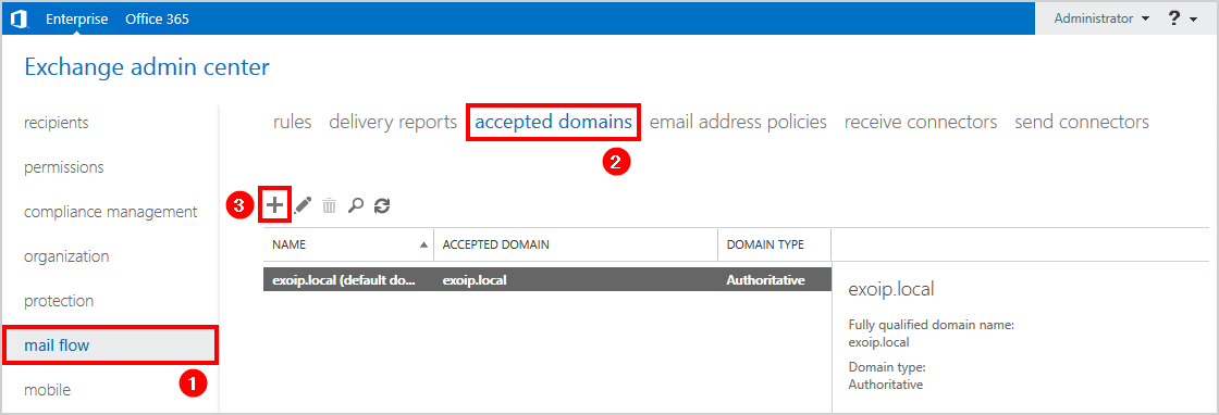 Add accepted domain in Exchange 2016 create new