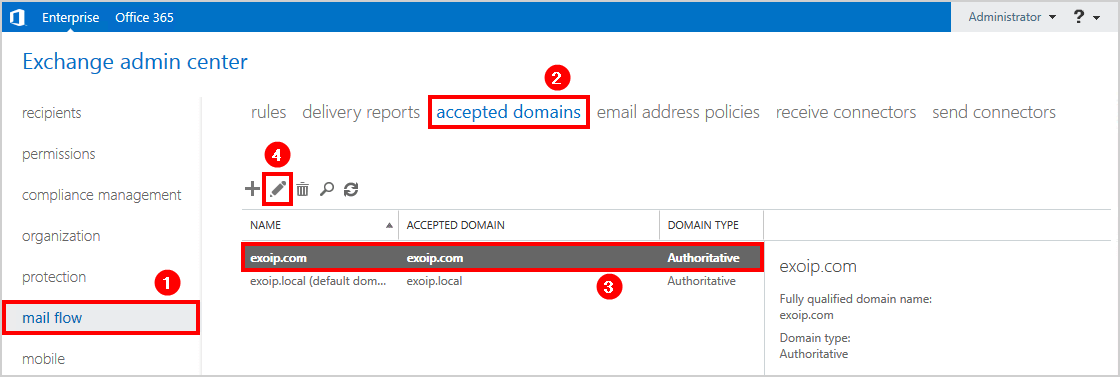 Add accepted domain in Exchange 2016 showing default domain