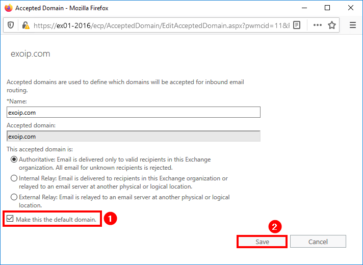 Add accepted domain in Exchange 2016 make default domain