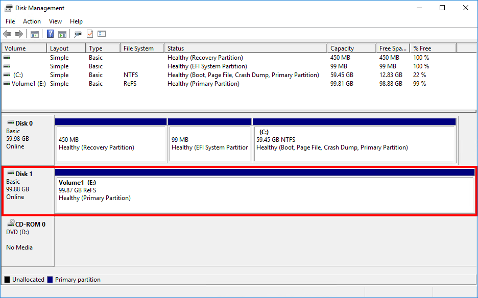 Configure ReFS volume Exchange 2013 2016 2019 disk configured