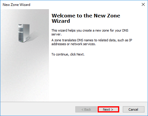 Configure internal DNS Exchange 2016 New zone wizard