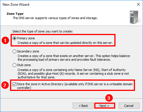 Configure internal DNS Exchange 2016 Zone Type