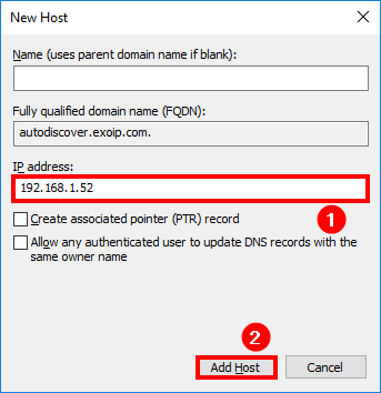 Configure internal DNS Exchange 2016 add new host autodiscover