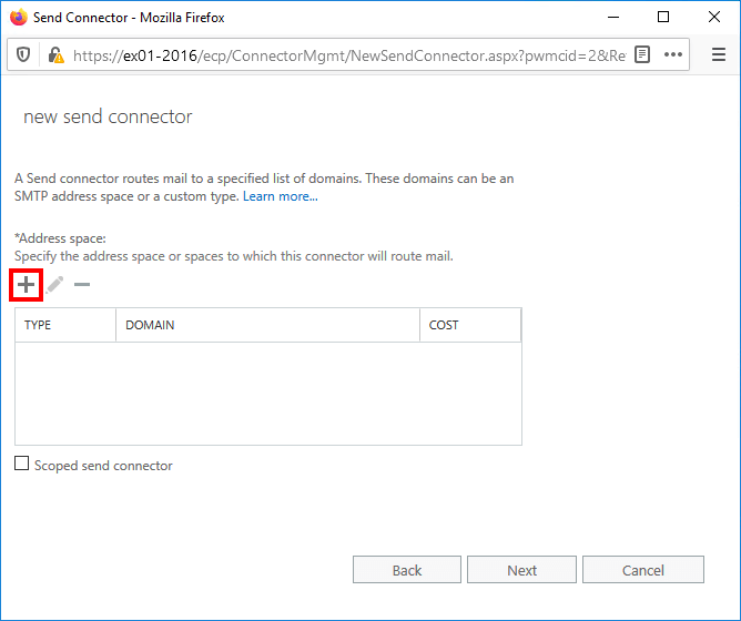 Create send connector Exchange 2016 add address space
