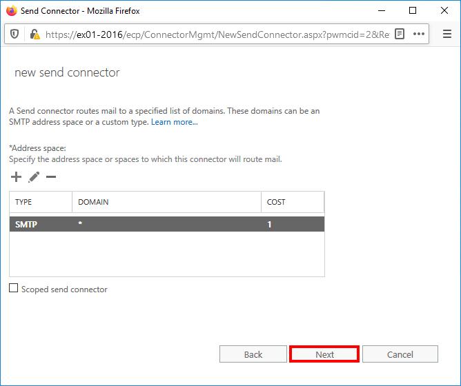 Create send connector Exchange 2016 addres space configured