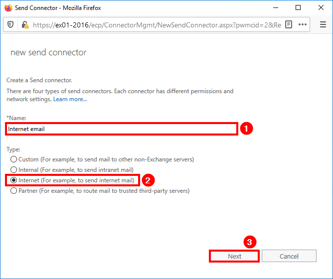 Create send connector Exchange 2016 create name and select type