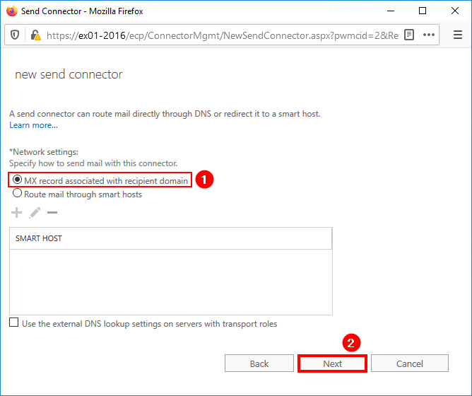 Create send connector Exchange 2016 select mx record
