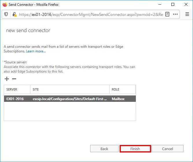 Exchange connector source server configured finish