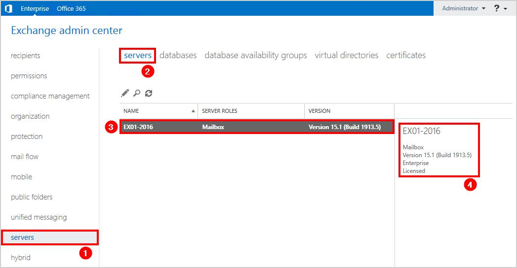 Enter product key Exchange Server 2016 check licensed