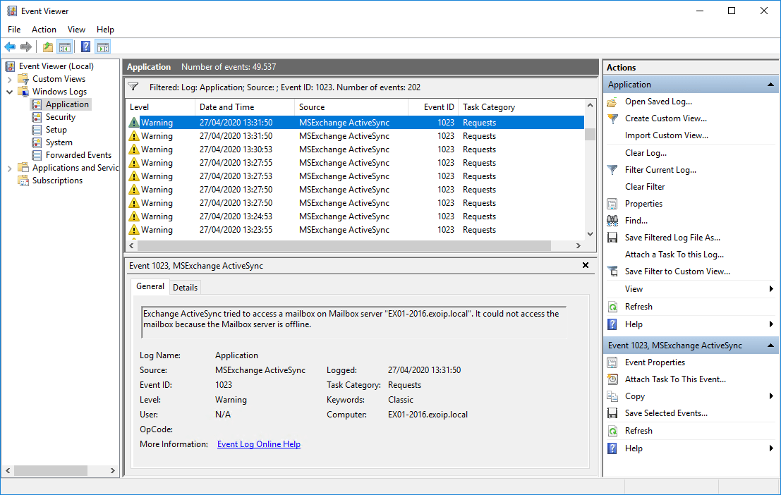MSExchange ActiveSync 1023 warning event log exchange activesync tried to access a mailbox