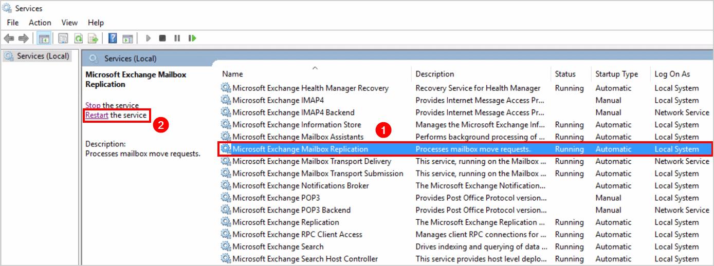 MSExchange mailbox replication warning Event ID 1006 Restart Exchange mailbox replication service