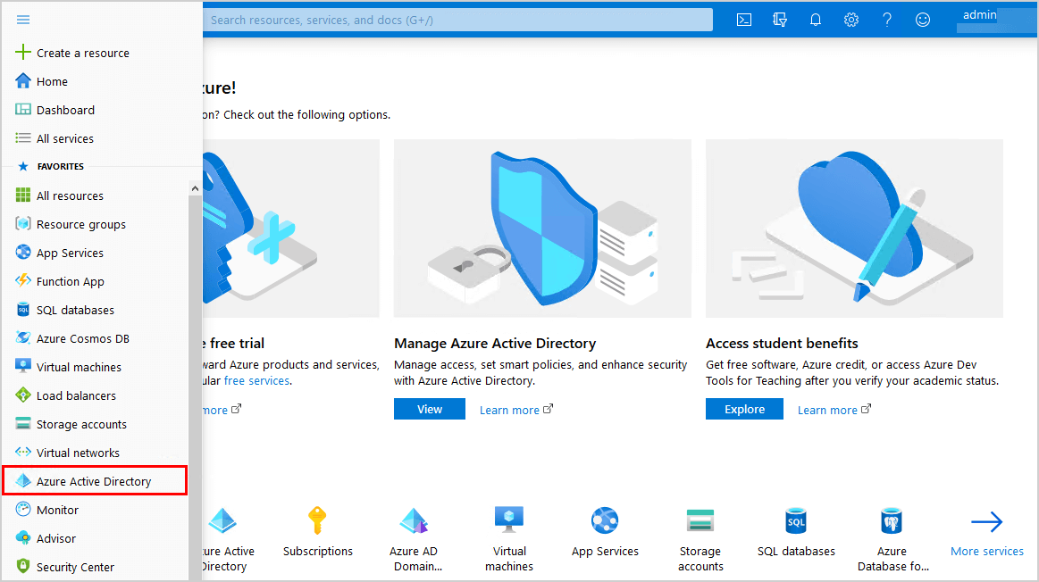 Click Azure Active Directory in the menu