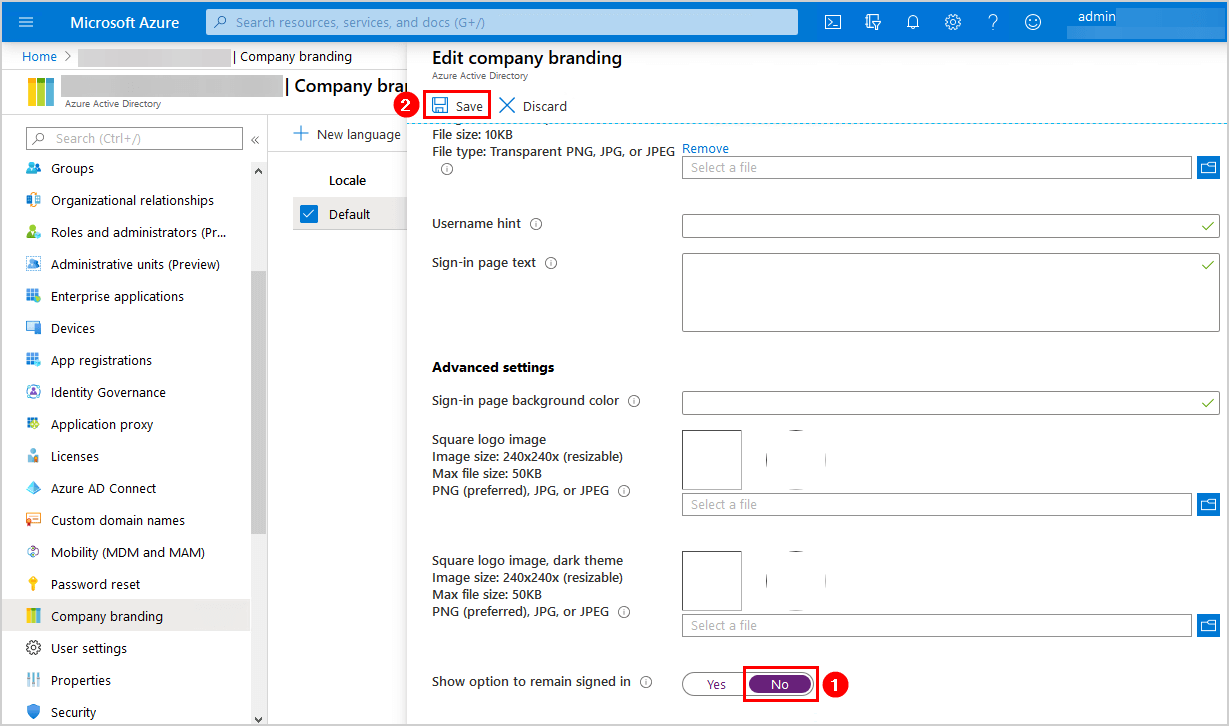 Office 365 disable stay signed in prompt show option to remain signed in NO