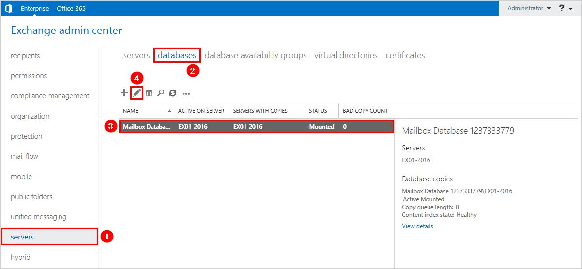 Rename Exchange 2016 database with PowerShell edit database