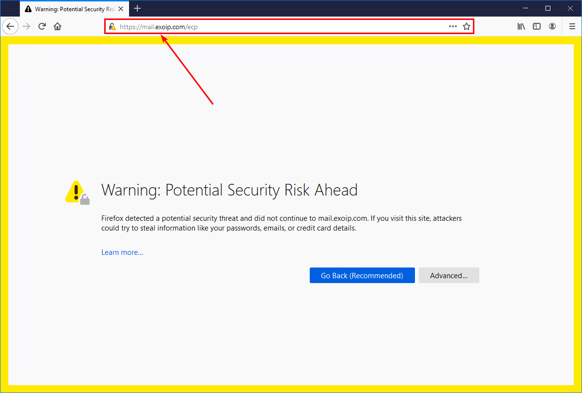 Test new namespace ECP warning security risk