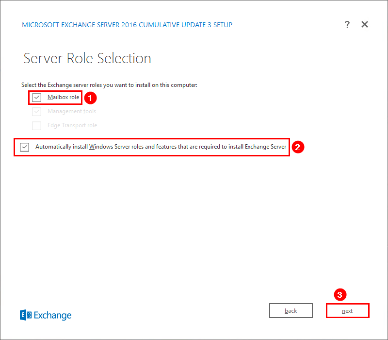 Install Exchange Server 2016 Server Role Selection