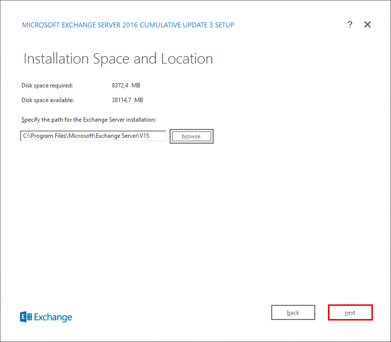 Install Exchange Server 2016 Installation Space and Location