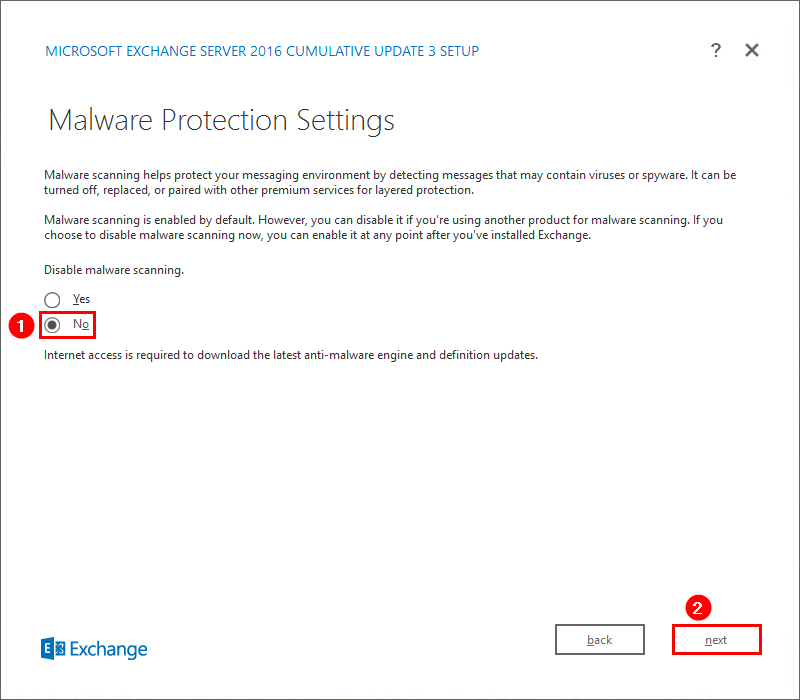 Install Exchange Server 2016 Malware Protection Settings