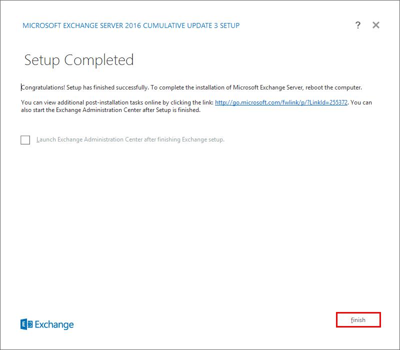 Install Exchange Server 2016 Setup Completed
