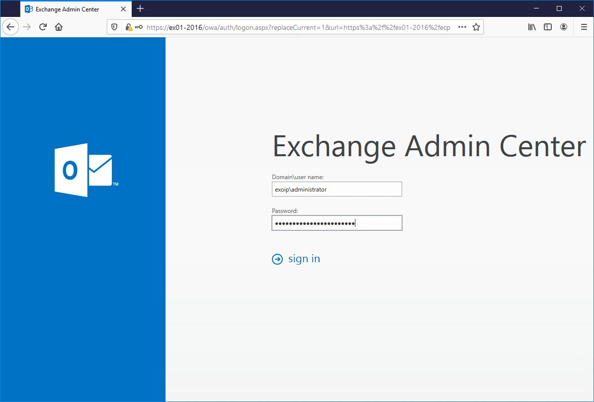 Install Exchange Server 2016 Exchange Admin Center
