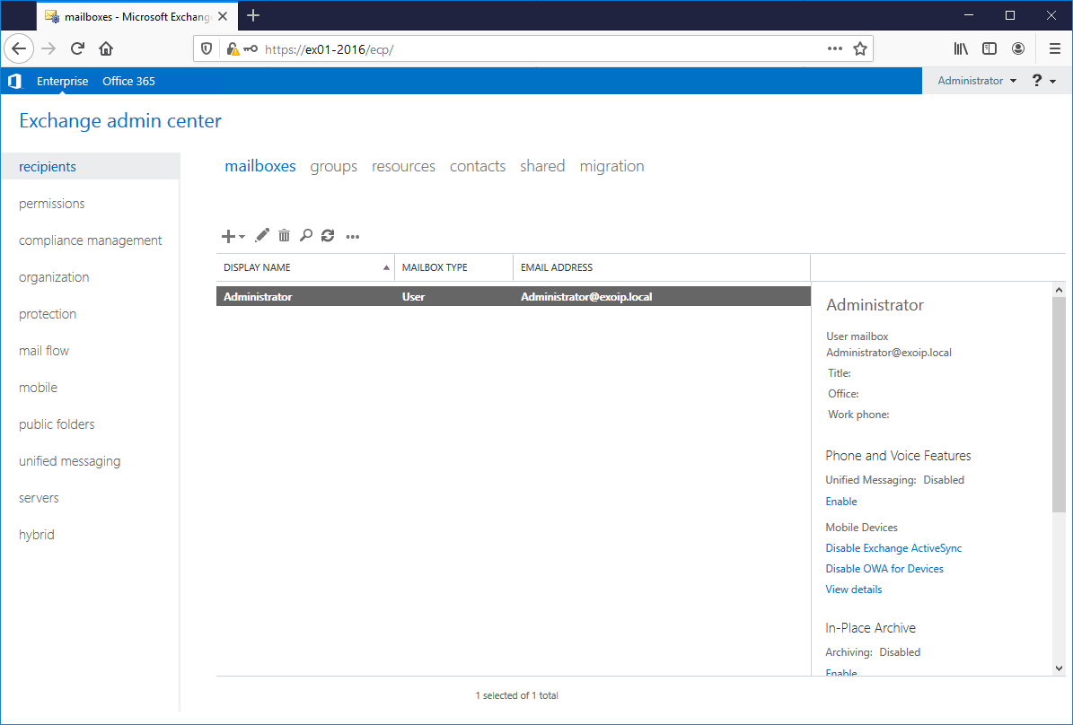 Install Exchange Server 2016 Exchange Admin Center logged in