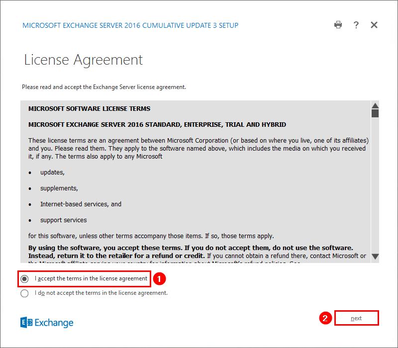 Install Exchange Server 2016 License Agreement